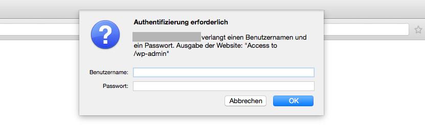 Zusätzliche Passwort-Abfrage vor der WordPress Login-Oberfläche
