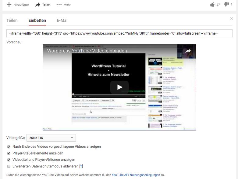 """Empfehlung: """"Erweiterten Datenschutzmodus aktiven"""" beim Einbetten von YouTube Videos nutzen."""
