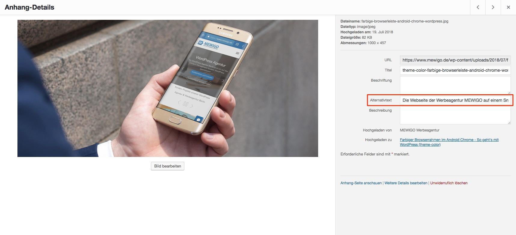 Ein Screenshot der Website der Mewigo Werbeagentur auf einem Smartphone