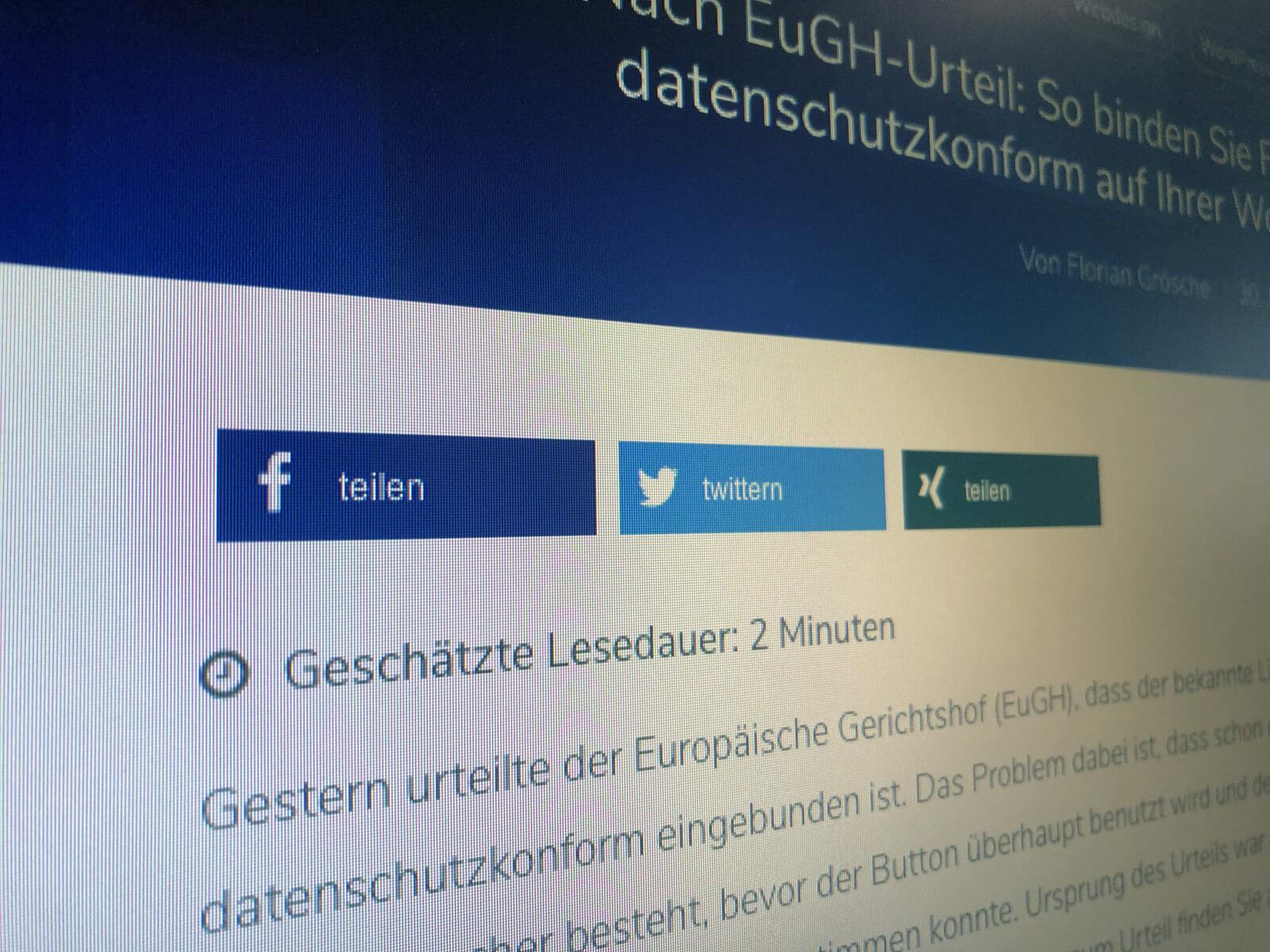 Nach EuGH-Urteil: So binden Sie Facebooks Like-Button datenschutzkonform auf Ihrer WordPress-Website ein
